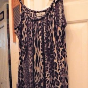 Purple, black and cream leopard print maxi dress.